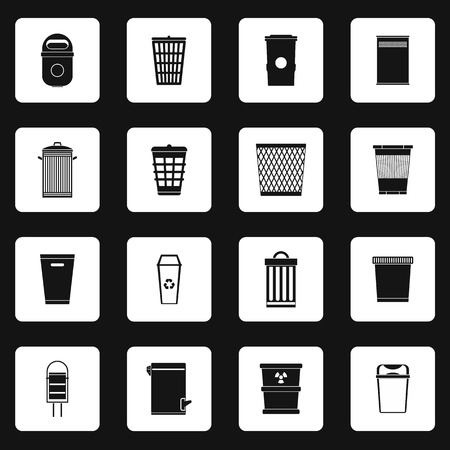 garbage collection: Trash can icons set in simple style. Garbage container set collection vector illustration