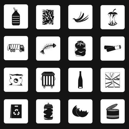 trashing: Garbage icons set in simple style. Waste ecology recycling and pollution set collection vector illustration Illustration