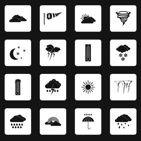 meteorologist: Weather icons set in simple style. Forecast and meteorology symbols set collection vector illustration