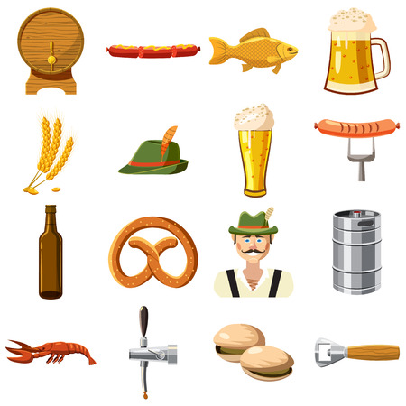german food: Oktoberfest icons set in cartoon style. Germany fest set collection vector illustration
