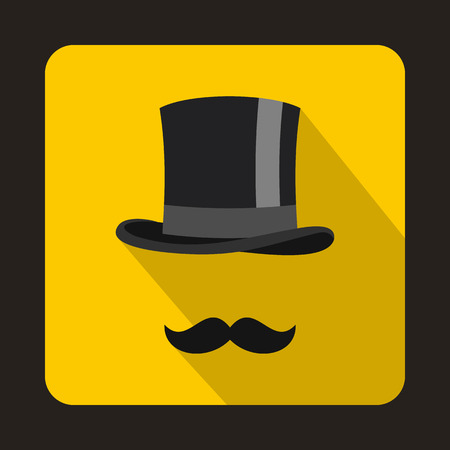 Male black mustache and cylinder icon in flat style on a yellow background