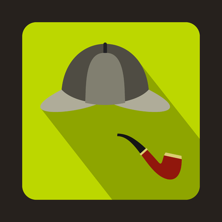 Detective Sherlock Holmes hat and smoking pipe icon in flat style on a green background