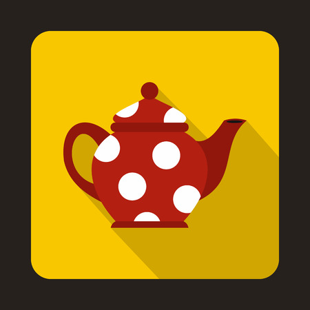 faience: Red spotty teapot icon in flat style on a yellow background