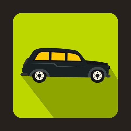 black cab: London black cab icon in flat style on a green background