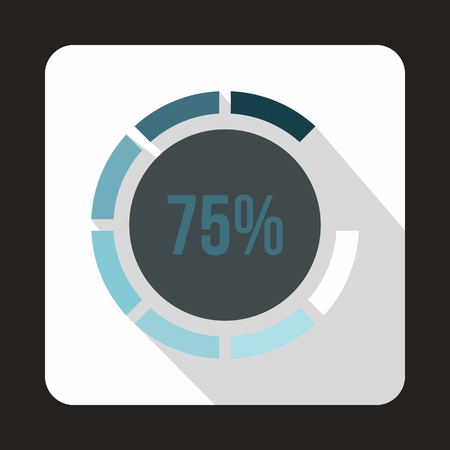 preloader: Web preloader, 75 percent icon in flat style on a white background Illustration
