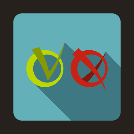 green tick: Green tick and red cross icon in flat style on a baby blue background