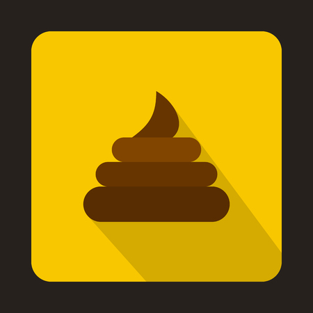 Poop icon in flat style on a yellow background