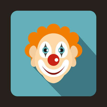 buffoon: Head of clown icon in flat style on a baby blue background Illustration