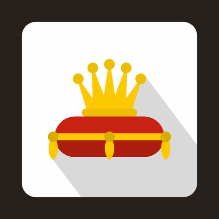 jeweled: Gold crown on red pillow icon in flat style on a white background