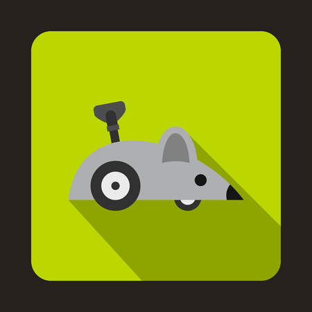 clockwork: Clockwork mouse icon in flat style on a green background