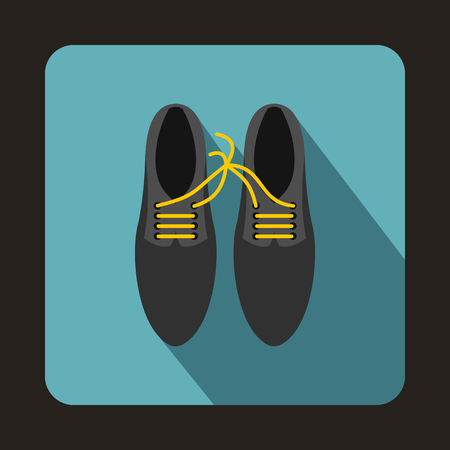 prankster: Gray shoes with laces tied together icon in flat style on a baby blue background