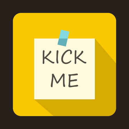 prankster: Kick me, april fools day sticker icon in flat style on a yellow background