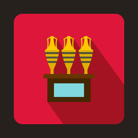earthenware: Egyptian vase icon in flat style on a crimson background