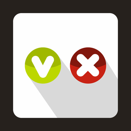 Tick and cross buttons icon in flat style on a white background