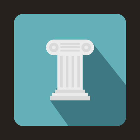 ionic: Ancient Ionic pillar icon in flat style on a baby blue background Illustration