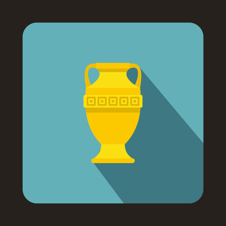 earthenware: Ancient vase icon in flat style on a baby blue background