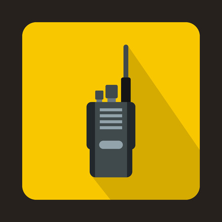 Portable radio transceiver icon in flat style on a yellow background