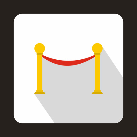 velvet rope: Barrier rope icon in flat style on a white background