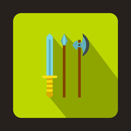 artifact: Medieval weapons icon in flat style on a green background