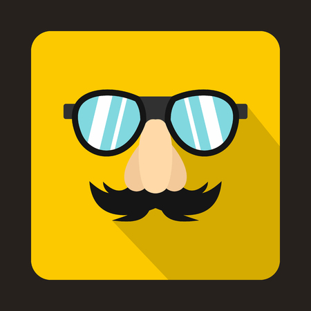 fake nose and glasses: Comedy fake nose mustache, eyebrows and glasses icon in flat style on a yellow background