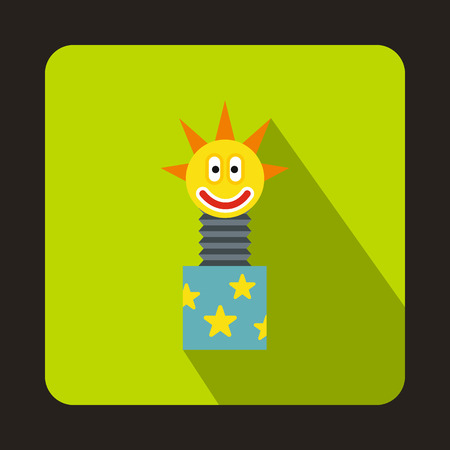 jack in the box: Clown jumping out from a box icon in flat style on a green background