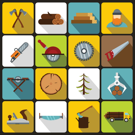 felling: Timber industry icons set in flat style. Lumberjack equipment set collection vector illustration