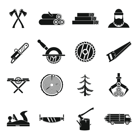 felling: Timber industry icons set in simple style. Lumberjack equipment set collection vector illustration