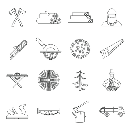 felling: Timber industry icons set in outline style. Lumberjack equipment set collection vector illustration Illustration