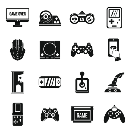 Video game icons set in simple style. Entertaining devices set collection vector illustration