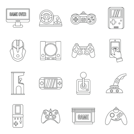 handheld device: Video game set in outline style. Entertaining devices set collection vector illustration