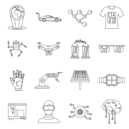 new technologies: New technologies set in outline style. Innovative app and gadget set collection vector illustration