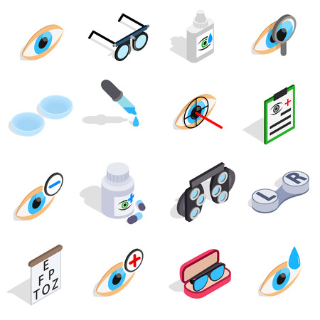 optometry: Optometry icons set in isometric 3d style. Care and eye health set collection vector illustration Illustration