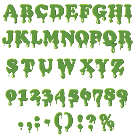 slime: Slime alphabet with numbers isolated on white background. English font in slime texture set collection vector illustration