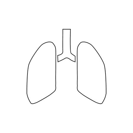 pulmonology: Human lungs icon in outline style isolated on white background