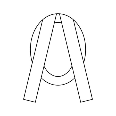 sincere: Funeral frame with ribbon icon in outline style isolated on white background Illustration
