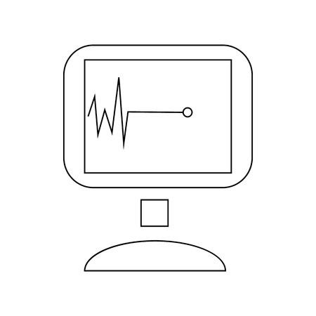 arrest: Monitor with cardiac arrest icon in outline style isolated on white background
