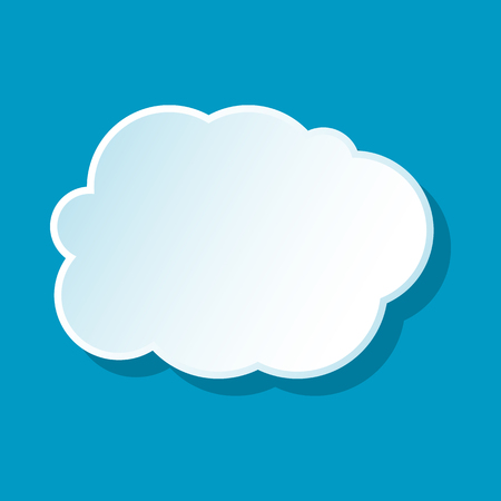 White cloud icon on blue background. Weather symbol Illustration
