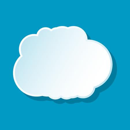 cumulus cloud: Cumulus cloud icon on blue background. Weather symbol