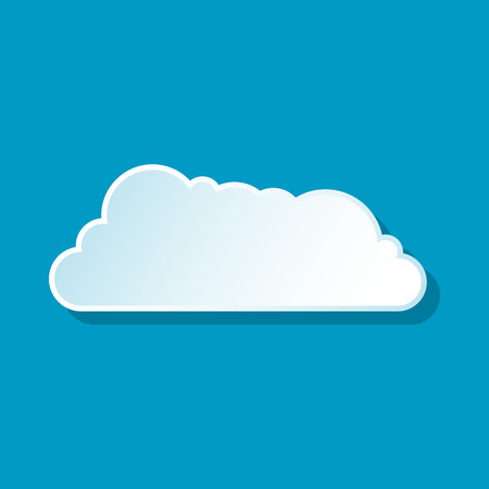 Drifting cloud icon on blue background. Weather symbol Illustration