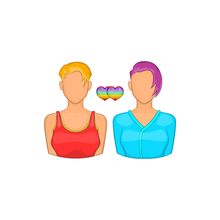 tolerance: Two girls lesbians icon in cartoon style isolated on white background. Tolerance symbol