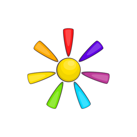 tolerance: Sun in colours  icon in cartoon style isolated on white background. Tolerance symbol