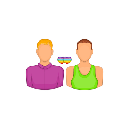 tolerance: Two men gay icon in cartoon style isolated on white background. Tolerance symbol
