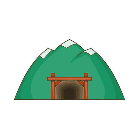 Mine in mountain icon in cartoon style isolated on white background. Mining symbol Illustration