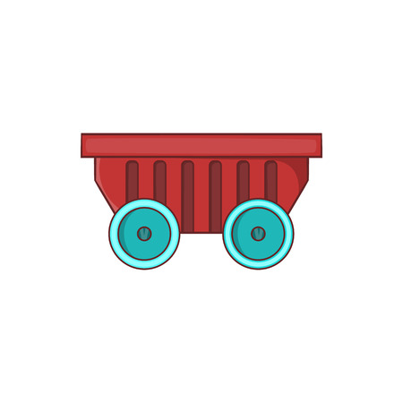 rubbish cart: Cart on wheels icon in cartoon style isolated on white background. Transportation symbol Illustration