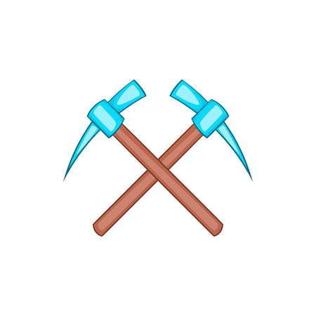 picks: Two picks icon in cartoon style isolated on white background. Tool symbol Illustration