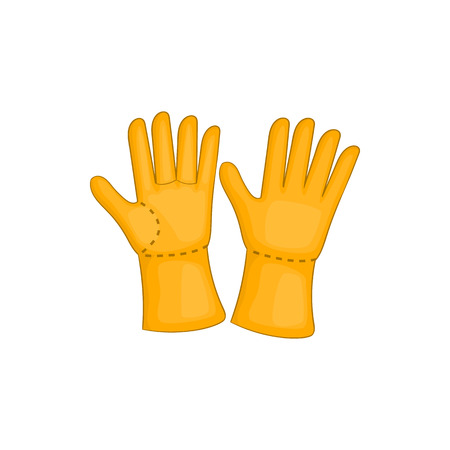latex glove: Rubber gloves icon in cartoon style isolated on white background. Protection for hands symbol