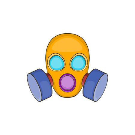 army face: Gas mask icon in cartoon style isolated on white background. Protection symbol