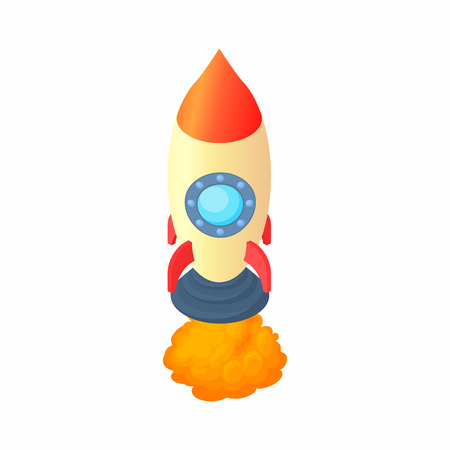 Rocket with one portholes icon in cartoon style isolated on white background. Aircraft symbol