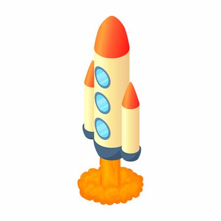Rocket with three portholes icon in cartoon style isolated on white background. Aircraft symbol Illustration