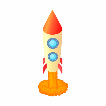 space flight: Rocket for space flight icon in cartoon style isolated on white background. Aircraft symbol Illustration